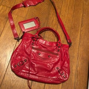 Red Balenciaga Town Bag pre-owned authentic
